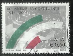 ITALIA REPUBBLICA ITALY REPUBLIC 2006 ANNIVERSARIO DELL'ELEZIONE DELL'ASSEMBLEA COSTITUENTE € 0,60 USATO USED OBLITERE' - 6. 1946-.. Repubblica