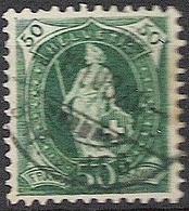 Schweiz Suisse 1907: 14 Zähne+Faser 14 Dents, Melée Zu 98A Mi 92D Yv 110 - 50c Grün, Zentral-o 8.VIII.08 (Zu CHF 20.00) - 1882-1906 Wappen, Stehende Helvetia & UPU