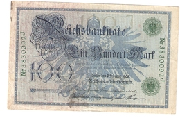 T. Germany German Empire 100 Mark 1908 Reichsbanknote Green Seal & Ser. 3830092 J - [ 2] 1871-1918 : Duitse Rijk
