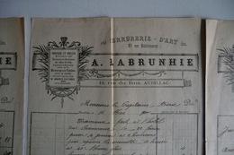 (057) FACTURES DOCUMENTS COMMERCIAUX. 15 CANTAL AURILLAC, 19 Rue Du Buis. A. LABRUNHIE. Serrurerie. 1898. - Petits Métiers