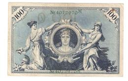 T. Germany German Empire 100 Mark 1908 Reichsbanknote Green Seal & Ser.4072970 M - [ 2] 1871-1918 : Duitse Rijk