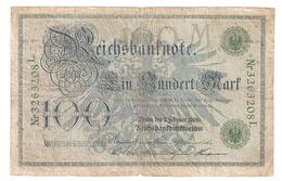 T. Germany German Empire 100 Mark 1908 Reichsbanknote Green Seal & Ser. 3263208 L - [ 2] 1871-1918 : Duitse Rijk