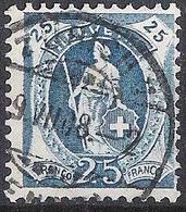 Schweiz Suisse 1907: 14 Zähne+Faser 14 Dents, Melée Zu 95A Mi 89D Yv 107 - 25c Blau O ZÜRICH 9.VII.08 (Zu CHF 18.00) - 1882-1906 Wappen, Stehende Helvetia & UPU
