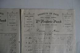 (058) FACTURES DOCUMENTS COMMERCIAUX. 15 CANTAL MAURS.  FREDERIC PUECH. Noix, Pommes, Grains 1919. - Food