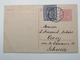 1923 , Ganzsache Mit Zusatzfrankatur Aus Graz  In Die Schweiz - 1918-1945 1. Republik