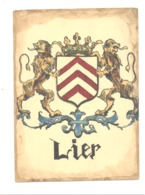 Blason De La Ville De LIER - Aquarelle Ou Gouache Originale  (format Carte Postale ) Au Verson : Paul Hagemans (b240) - Acuarelas