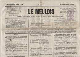 """France Journaux N°7 Oblitéré Sur Journal D'annonces Complet """"le Mellois""""  Du 7 Mars 1869 Superbe - Periódicos"""