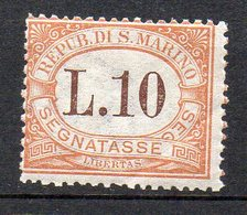 1925 San Marino - Segnatasse 27 - 10 Lira Integro MNH** Sassone 130 Euro - Segnatasse