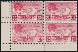 1932. PAISAJES. 25 CTS. BLOQUE DE 4. DOBLE DENTADO HORIZONTAL. (ED. NE13). - Andorra Española