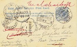 1899 EAST INDIA SERVICE POSTCARD - LAHORE To SPRINAGAR - Entiers Postaux