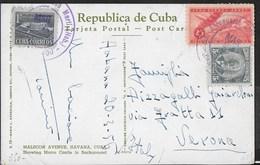 "CUBA- ANNULLO DC VIOLA ""AEROPUERTO JOSE' MARTI' (HAB.) "" 29.03.1956 SU CARTOLINA PER VERONA - Cuba"