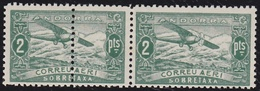 1932. PAISAJES. 2 PTAS. PAREJA. EJEMPLAR IZQUIERDO DOBLE DENTADO VERTICAL. (NE20) - Andorra Española