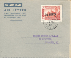 SEIYUN /KATHIRI State Of SEIYUN  - 24.12.1951 , Air Letter To Edinburgh - Timbres