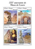 Sao Tome 2018 225th Aniv Of Louvre Leonardo Da Vinci Mona Lisa Small Size S/S ST18417 - Famous People