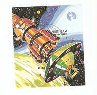 T. Vietnam Stamp 1988 SPACE Cosmos Cosmonautics Day Block Souvenir Sheet - Viêt-Nam