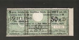 T. Germany Anleihe Des Deutsches Reich Von 1917 Zinsschein Coupon Kupon 1923 No. 3114586 Watermark - Germany