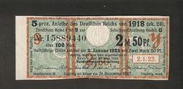 T. Germany Anleihe Des Deutsches Reich Von 1918 Zinsschein Coupon Kupon 1923 No. 15889440 - Germany