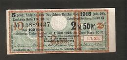 T. Germany Anleihe Des Deutsches Reich Von 1918 Zinsschein Coupon Kupon 1923 No. 15889437 - Germany