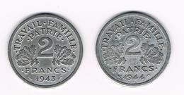 =&  FRANKRIJK 2 FRANCS 1943/1944  VICHY - France