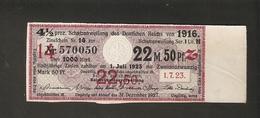 T. Germany Schatzanleihe Des Deutsches Reich Von 1916 Zinsschein Coupon Kupon 1923 No. 570050 - Germany