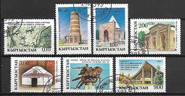 KIRGHIZSTAN     -   1993  .   Y&T N° 5 à 11 Oblitérés.  Sites Touristiques Et Monuments.  Série Complète. - Kirghizistan