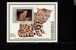 673669510 NAMIBIE  1997 POSTFRIS MINT NEVER HINGED POSTFRISCH EINWANDFREI SCOTT 828 WILD CAT SOUVENIR SHEET - Namibie (1990- ...)