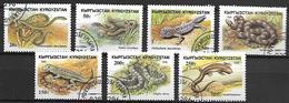 KIRGHIZSTAN     -   1996  .   Y&T N° 73 à 79 Oblitérés.  Reptiles.  Serpents / Lézards.  Série Complète. - Kirghizistan