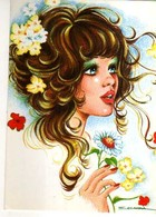 SCARRA Portrait De Jeune Femme Bouclee, Fleurs - Künstlerkarten