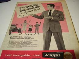 ANCIENNE PUBLICITE 1 ER PRIX DE TENUE  TERGAL  1959 - Habits & Linge D'époque