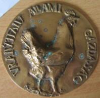 Hongrie - Grande Médaille Agricole En Cuivre, Représentant Un Poulet - Signée K. S. - Jetons & Médailles