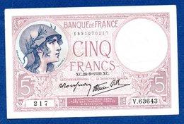 5 Francs Violet / 28-09-1939 / SUP - 1871-1952 Anciens Francs Circulés Au XXème
