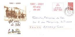 "2001 EMA + Entier Postal  (PAP) La Rosière ""40 Ans De Ski"" - Ski"