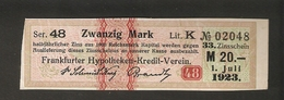 T. Germany DIvidenden Zinsschein Frankfurter Hypotheken Kredit Verein Coupon Kupon 1923 Lit. K No. 02048 Watermark - Germany