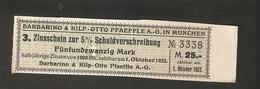 T. Germany Dividenden Zinsschein Barbarino + KO Pfaeffle AG In Munchen Coupon Kupon 1922 1923 No. 3338 Watermark - Germany