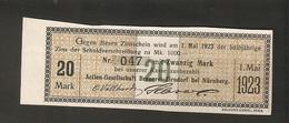 T. Germany Dividenden Zinsschein AG Brauerei Zirndorf Coupon Kupon 1922 1923 No.047 Watermark - Germany