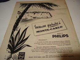 ANCIENNE PUBLICITE VACANCES GRATUIT A  MONTE CARLO GRACE A PHILIPS  1959 - Autres