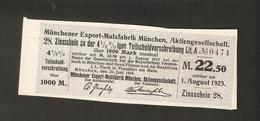 T. Germany Divid. Zinsschein Munchener Export Malzfabrik Munchen Coupon Kupon 1909 1923 No.0474 Watermark - Germany