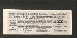 T. Germany Divid. Zinsschein Munchener Export Malzfabrik Munchen Coupon Kupon 1909 1923 No.0387 Watermark - Germany