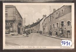 9791 D71   PERRECY LES FORGES GRANDE RUE CAFE DU CENTRE POMPE A ESSENCE SHELL 1945 - Francia