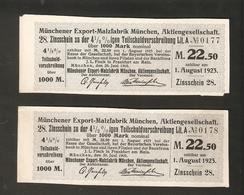 T. Germany Divid. Zinsschein Munchener Export Malzfabrik Munchen Coupon Kupon 1909 1923 No. 0177 / 0178 Watermark - Germany