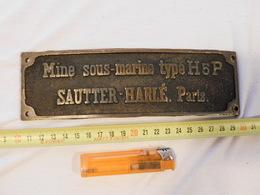 RARE PLAQUE MINE SOUS MARINE  TYPE H 5 P  Par SAUTTER HARLE  Paris  #.2 - Armes Neutralisées