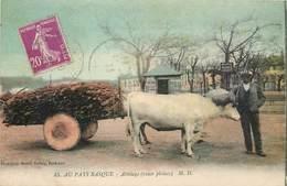 CPA 64 Pyrénées Atlantiques Puyoô - Au Pays Basque Attelage Roues Pleines M.D. 45 Circulée - France