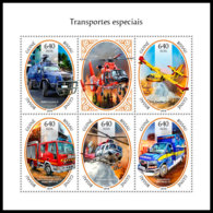 GUINEA BISSAU 2018 **MNH Fire Engines Feuerwehr Caminos De Pompiers M/S - IMPERFORATED - DH1846 - Sapeurs-Pompiers
