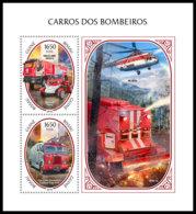 GUINEA BISSAU 2018 **MNH Fire Engines Feuerwehr Camions De Pompiers S/S - IMPERFORATED - DH1846 - Sapeurs-Pompiers
