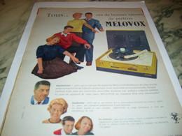 ANCIENNE PUBLICITE ELECTROPHONE VALISE DE MELOVOX 1959 - Musique & Instruments