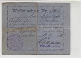 Waffenschein Nr. 64 Beantragt In DORSTEN 17.4.20 GEFALTET  !! Aber Sehr Selten - Germania