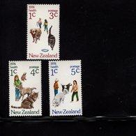 673696249 NEW ZEALAND 1974 POSTFRIS MINT NEVER HINGED POSTFRISCH EINWANDFREI SCOTT B89 B91 CHILDREN ANIMALS CATS DOGS - Nouvelle-Zélande