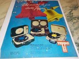 ANCIENNE  PUBLICITE DES ANNEES DE JOIE  ELECTROPHONE  DE TEPPAZ 1958 - Musique & Instruments