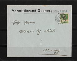 HEIMAT APPENZELL INNERRHODEN → 1925 Brief Vermittleramt Oberegg - Suisse