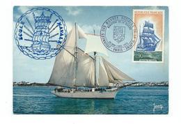 16745 - ADOSM - OEUVRES DE LA MARINE - 1974 Sur CP ECOLE NAVALE (GOELETTE BELLE POULE) - Postmark Collection (Covers)